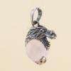 Colgante Dragón con mineral - cuarzo-rosa